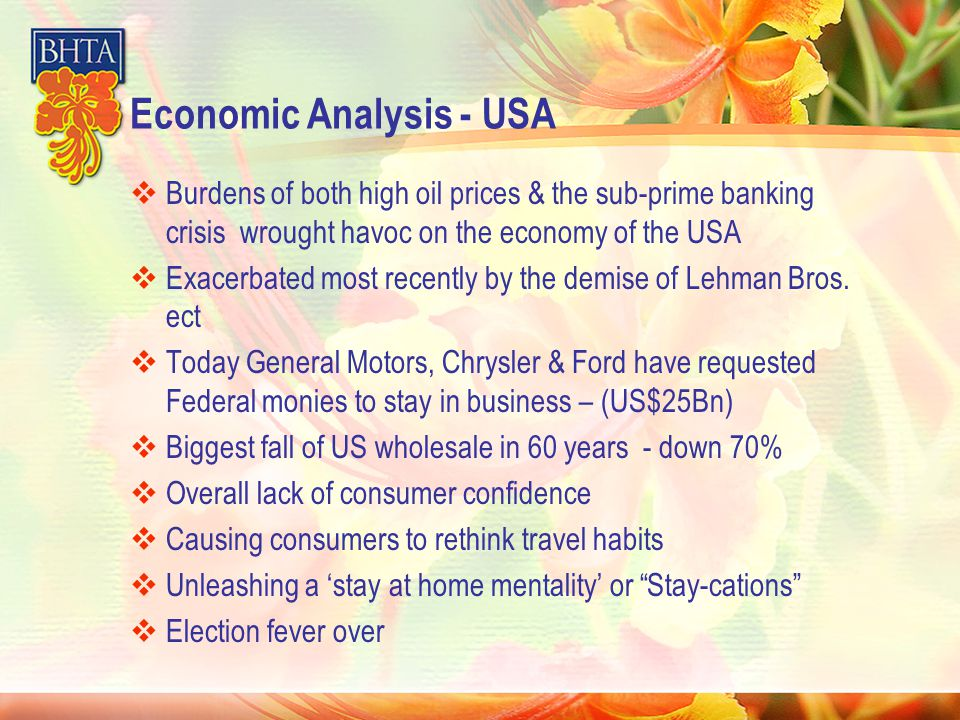 Economic Analysis - USA  Burdens of both high oil prices & the sub-prime banking crisis wrought havoc on the economy of the USA  Exacerbated most recently by the demise of Lehman Bros.
