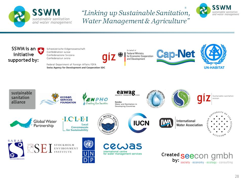 SSWM – Linking up sustainable sanitation & water management Enter the Date of your Presentation / Title of Event here (View  Master) 28 Linking up Sustainable Sanitation, Water Management & Agriculture SSWM is an initiative supported by: Created by: