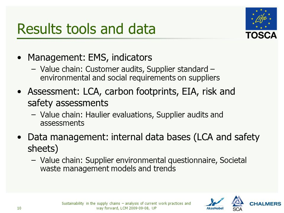 Results tools and data Management: EMS, indicators –Value chain: Customer audits, Supplier standard – environmental and social requirements on suppliers Assessment: LCA, carbon footprints, EIA, risk and safety assessments –Value chain: Haulier evaluations, Supplier audits and assessments Data management: internal data bases (LCA and safety sheets) –Value chain: Supplier environmental questionnaire, Societal waste management models and trends Sustainability in the supply chains – analysis of current work practices and way forward, LCM 2009-09-08, UP10