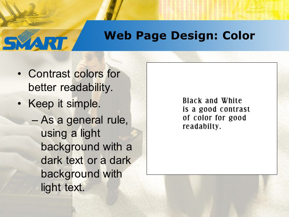 Web Page Design: Color Contrast colors for better readability.
