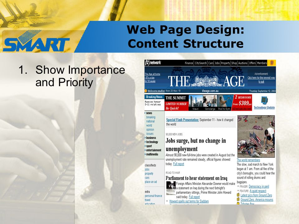 Web Page Design: Content Structure 1.Show Importance and Priority