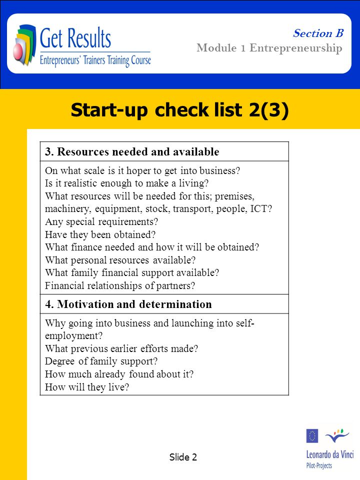 Slide 2 Section B Module 1 Entrepreneurship Start-up check list 2(3) 3.