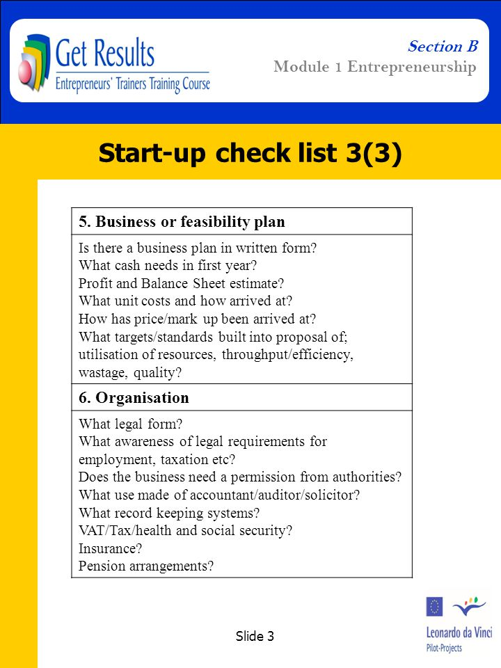 Slide 3 Section B Module 1 Entrepreneurship Start-up check list 3(3) 5.
