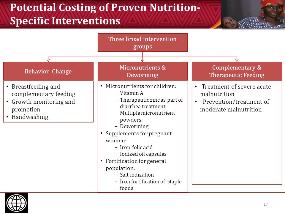 Potential Costing of Proven Nutrition- Specific Interventions 17 Three broad intervention groups Complementary & Therapeutic Feeding Micronutrients &