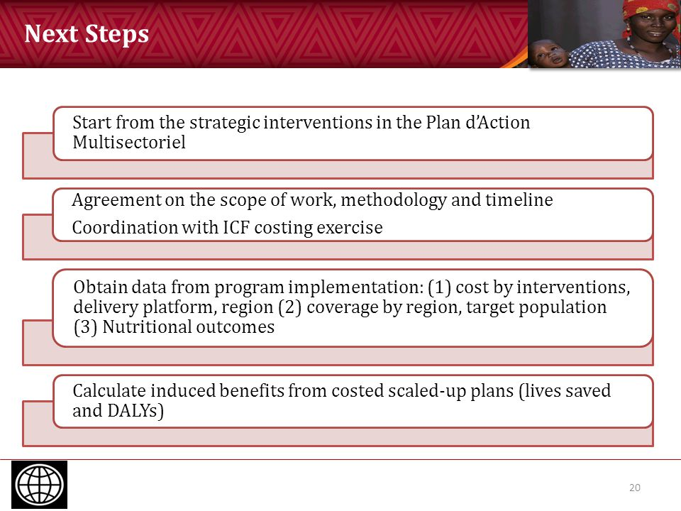 Next Steps 20 Start from the strategic interventions in the Plan d'Action Multisectoriel Agreement on the scope of work, methodology and timeline Coor