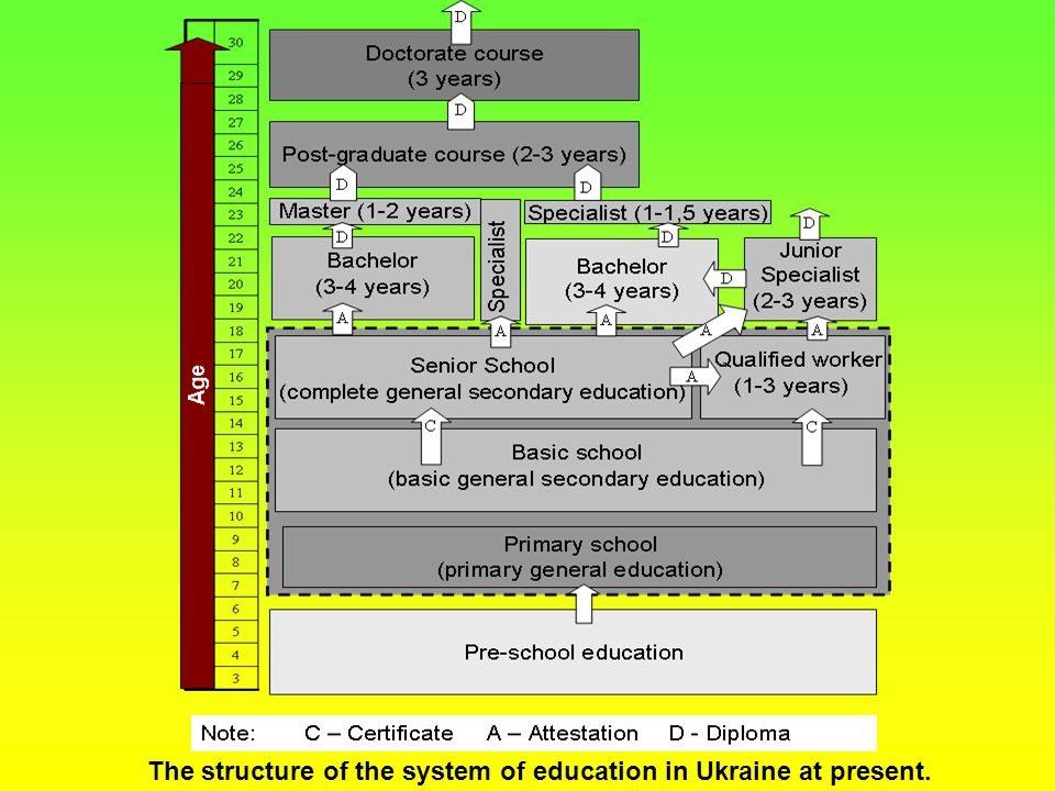The structure of the system of education in Ukraine at present.