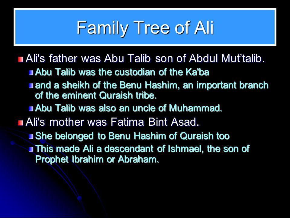 Family Tree of Ali Ali's father was Abu Talib son of Abdul Mut'talib. Abu Talib was the custodian of the Ka'ba and a sheikh of the Benu Hashim, an imp