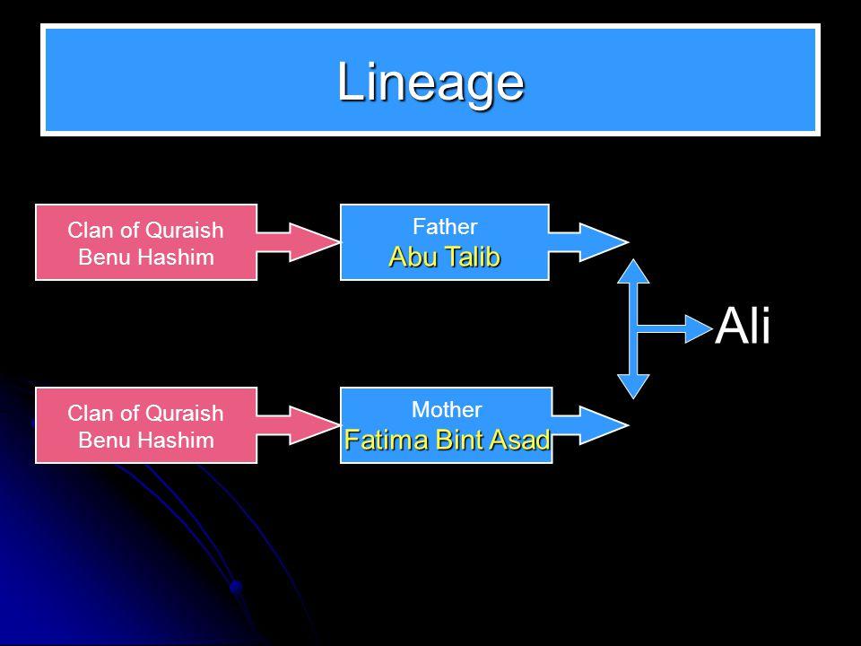 Lineage Father Abu Talib Mother Fatima Bint Asad Ali Clan of Quraish Benu Hashim Clan of Quraish Benu Hashim