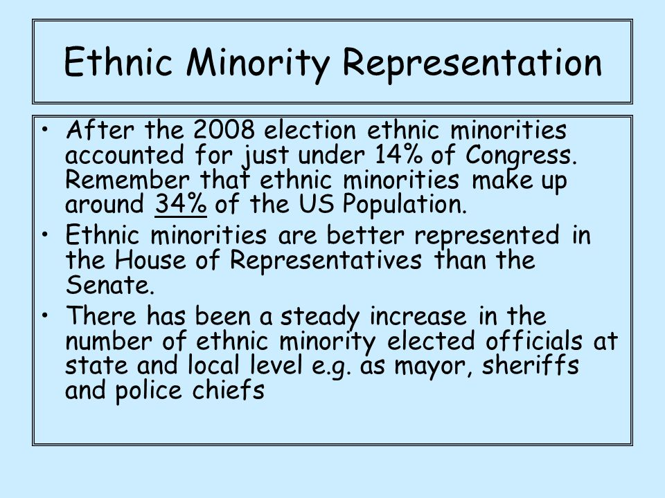 Ethnic Minority Representation After the 2008 election ethnic minorities accounted for just under 14% of Congress. Remember that ethnic minorities mak