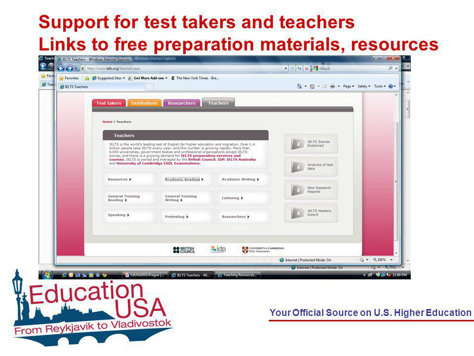 Support for test takers and teachers Links to free preparation materials, resources