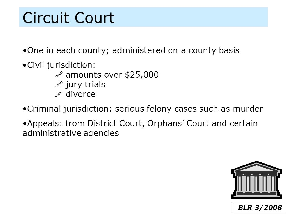 Circuit Court BLR 3/2008 One in each county; administered on a county basis Civil jurisdiction:  amounts over $25,000  jury trials  divorce Crimina