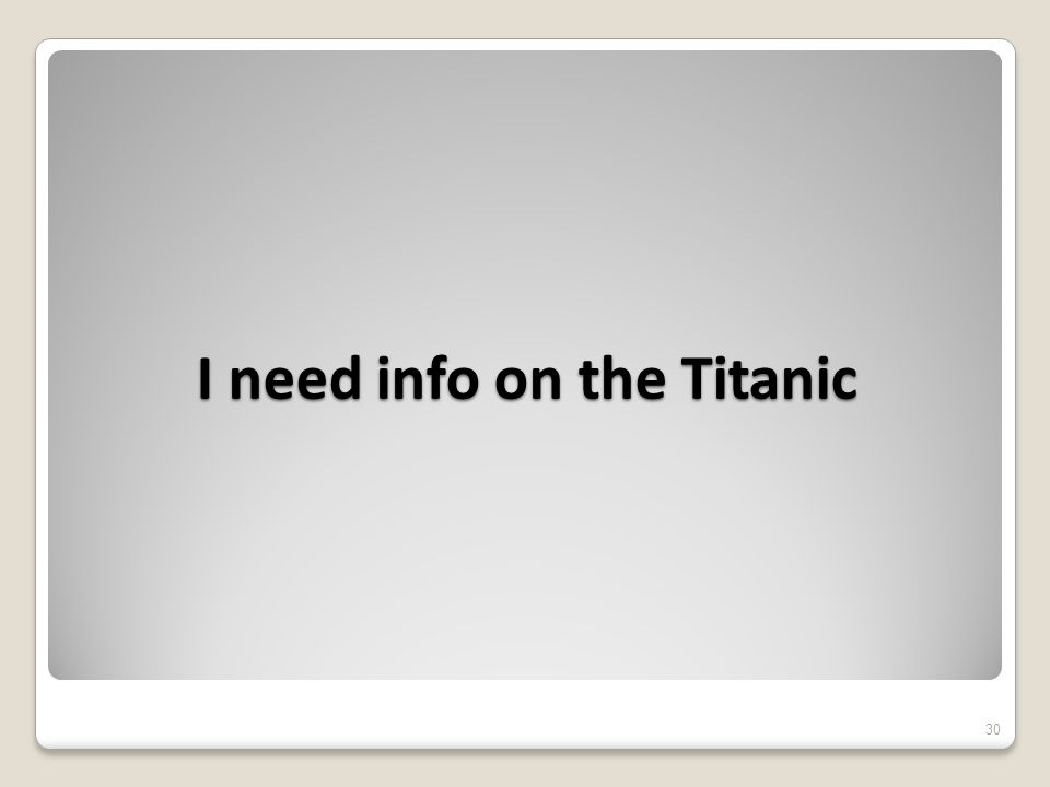 I need info on the Titanic 30