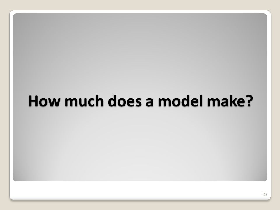 How much does a model make 39