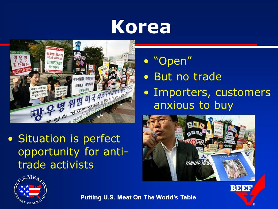 """Putting U.S. Meat On The World's Table Korea """"Open"""" But no trade Importers, customers anxious to buy Situation is perfect opportunity for anti- trade"""
