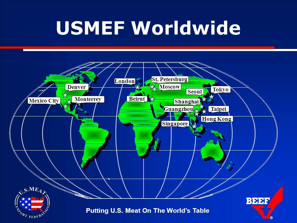 Putting U.S. Meat On The World's Table USMEF Worldwide Denver Mexico City Moscow London Beirut Tokyo Shanghai Taipei Seoul Singapore Guangzhou Monterr