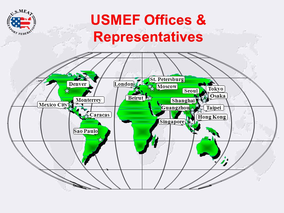 USMEF Stakeholders Private Companies –Tyson –Swift & Company –Excel –National Beef –Hormel –Smithfield Agribusiness –Chicago Mercantile Exchange –Elanco Animal Health U.S.