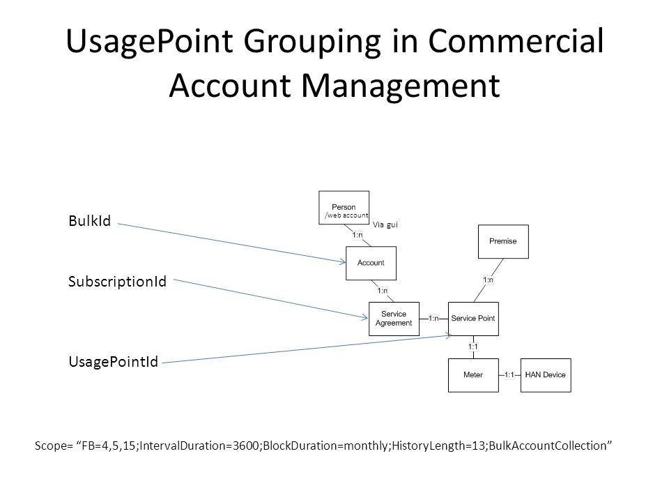 UsagePoint Grouping in Commercial Account Management BulkId SubscriptionId UsagePointId /web account Via gui Scope= FB=4,5,15;IntervalDuration=3600;BlockDuration=monthly;HistoryLength=13;BulkAccountCollection