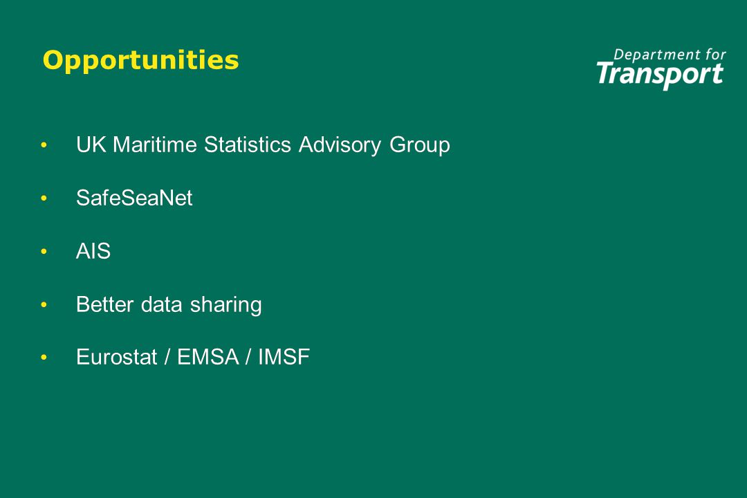 Opportunities UK Maritime Statistics Advisory Group SafeSeaNet AIS Better data sharing Eurostat / EMSA / IMSF UK Maritime Statistics Advisory Group SafeSeaNet AIS Better data sharing Eurostat / EMSA / IMSF