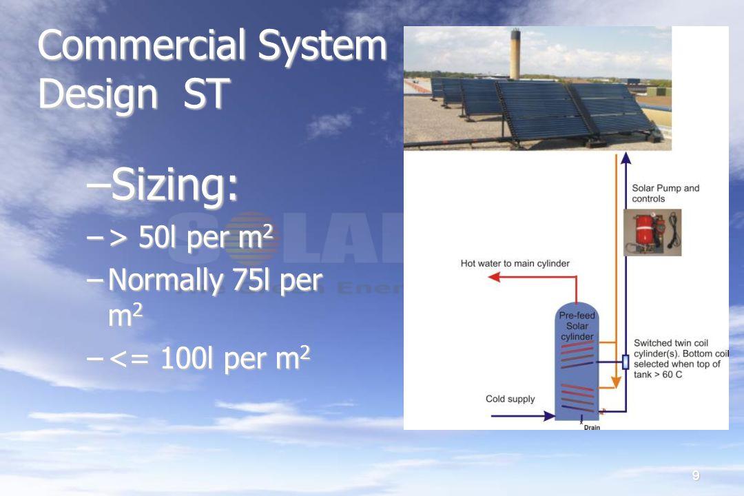 9 Commercial System Design ST –Sizing: –> 50l per m 2 –Normally 75l per m 2 –<= 100l per m 2