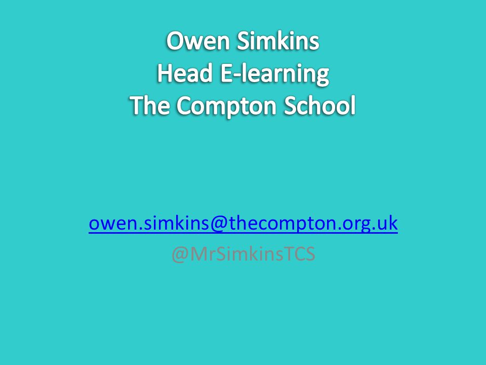 owen.simkins@thecompton.org.uk @MrSimkinsTCS
