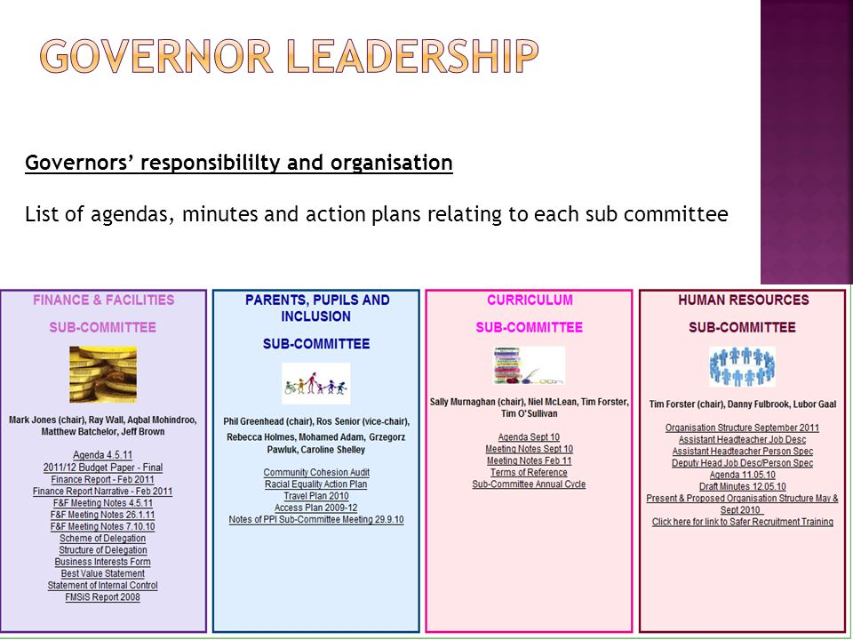 Governors' responsibililty and organisation List of agendas, minutes and action plans relating to each sub committee