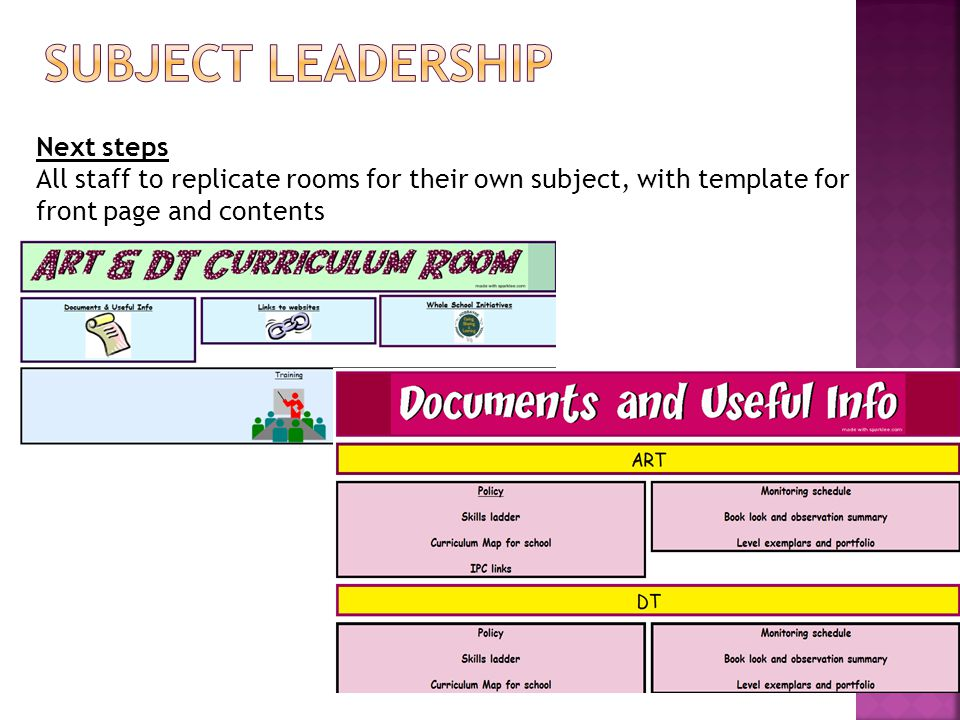 Next steps All staff to replicate rooms for their own subject, with template for front page and contents