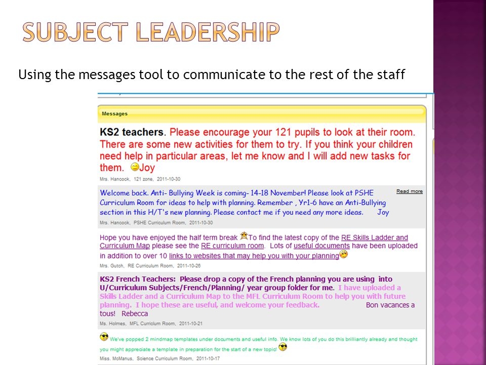 Using the messages tool to communicate to the rest of the staff
