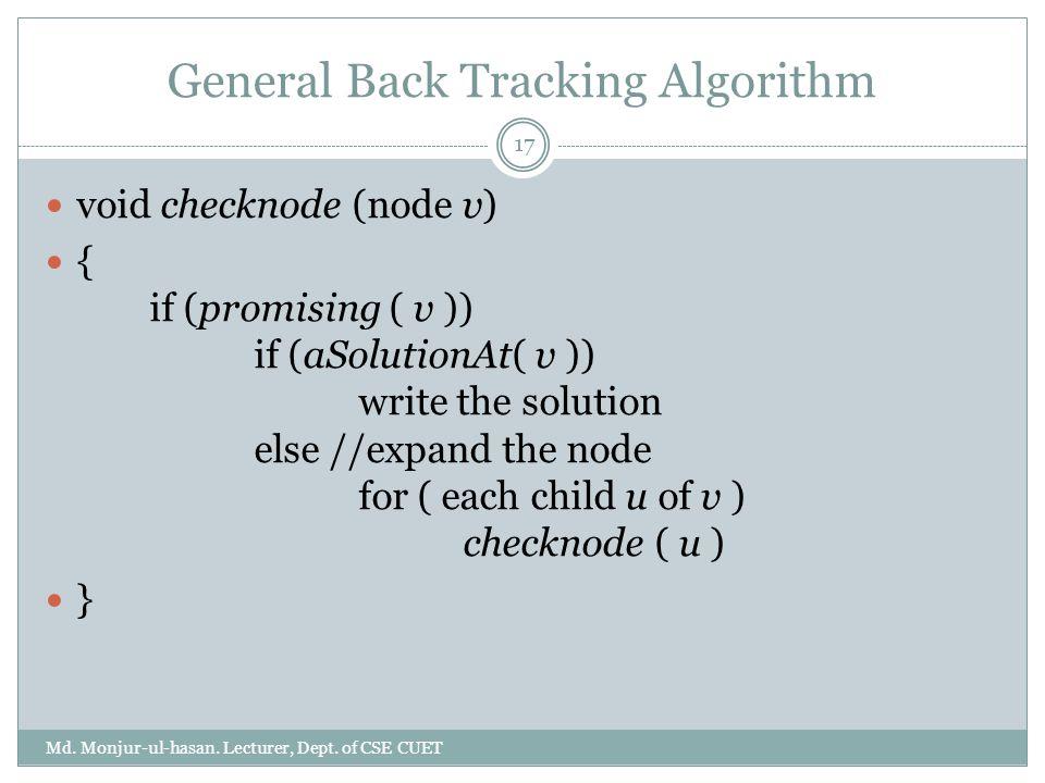 General Back Tracking Algorithm Md. Monjur-ul-hasan. Lecturer, Dept. of CSE CUET 17 void checknode (node v) { if (promising ( v )) if (aSolutionAt( v