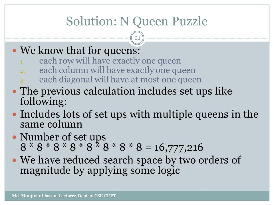 Solution: N Queen Puzzle Md.Monjur-ul-hasan. Lecturer, Dept.