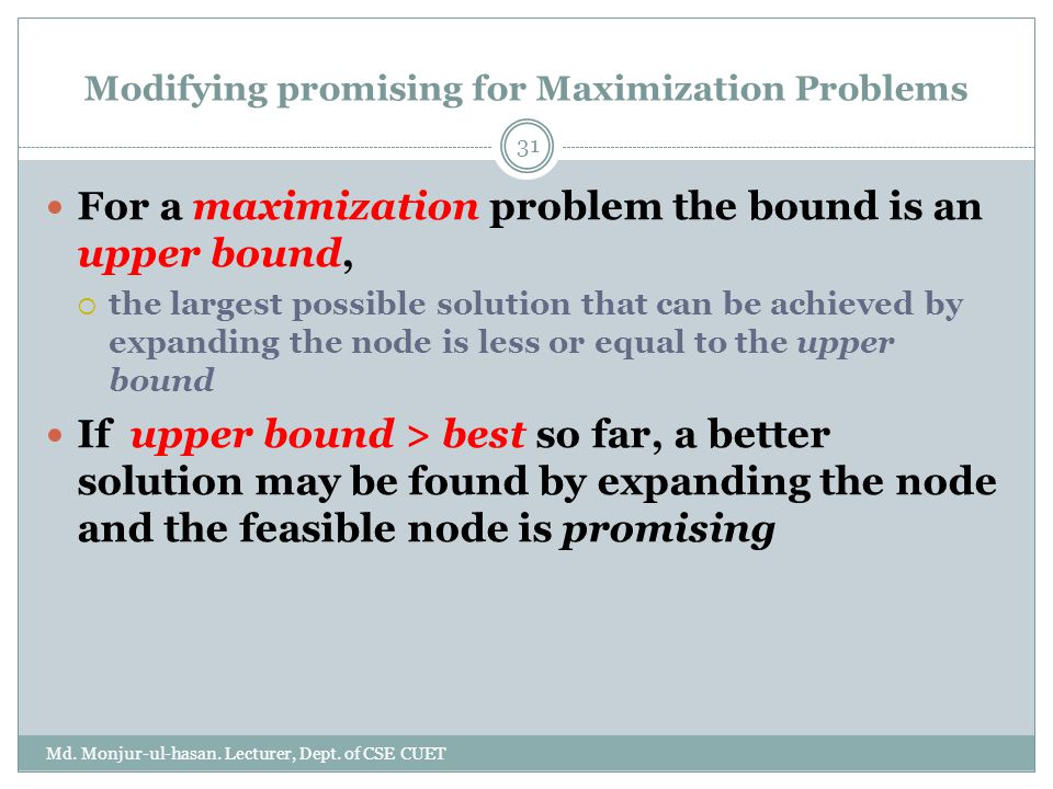 Modifying promising for Maximization Problems Md.Monjur-ul-hasan.