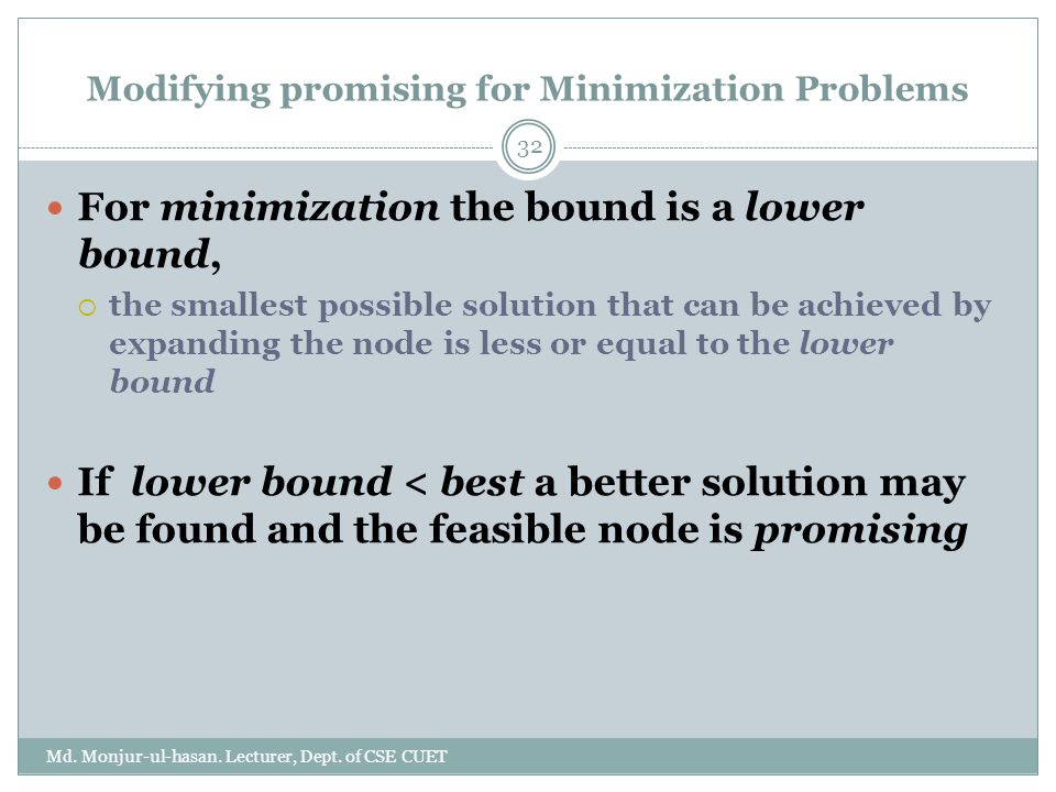 Modifying promising for Minimization Problems Md.Monjur-ul-hasan.