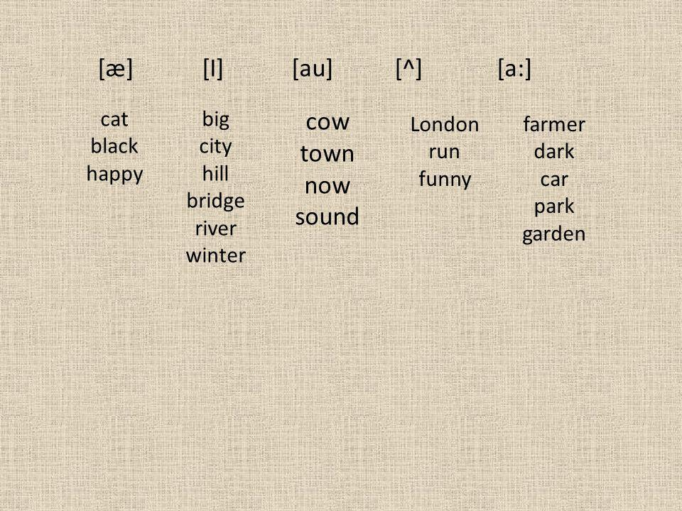 [æ] [I] [au] [^] [a:] cat black happy big city hill bridge river winter cow town now sound London run funny farmer dark car park garden