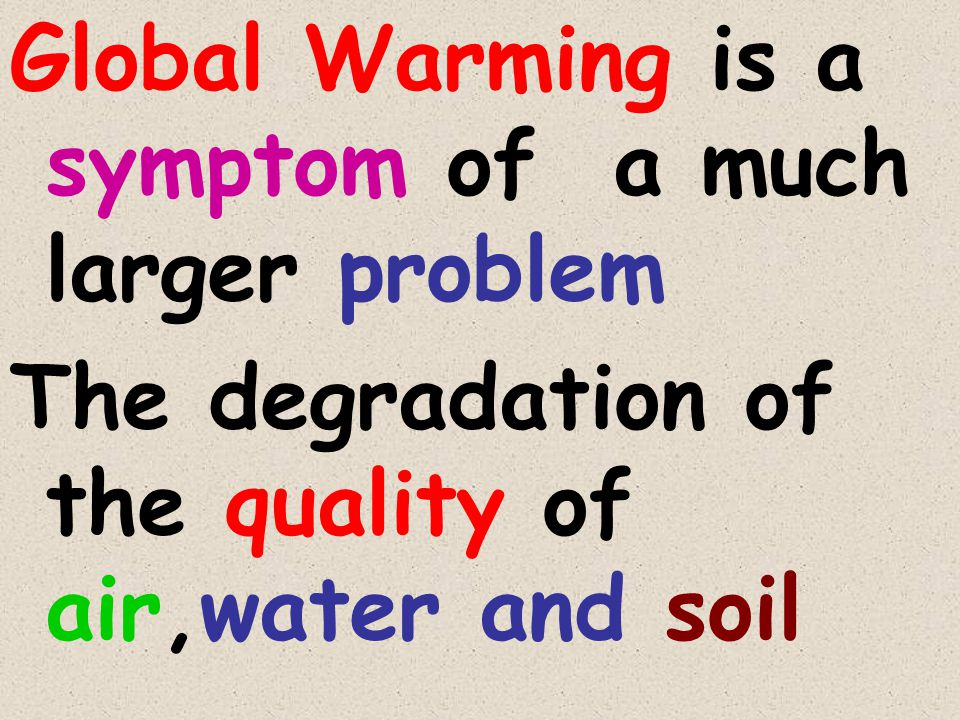Global Warming is a symptom of a much larger problem The degradation of the quality of air,water and soil