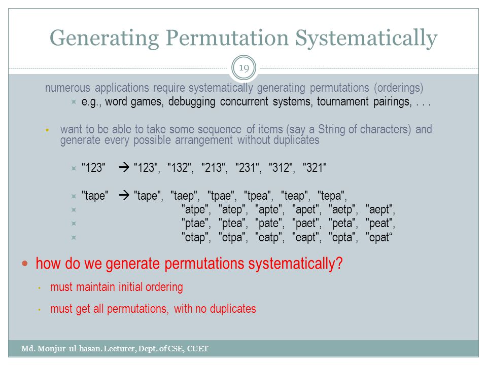 Generating Permutation Systematically Md. Monjur-ul-hasan.
