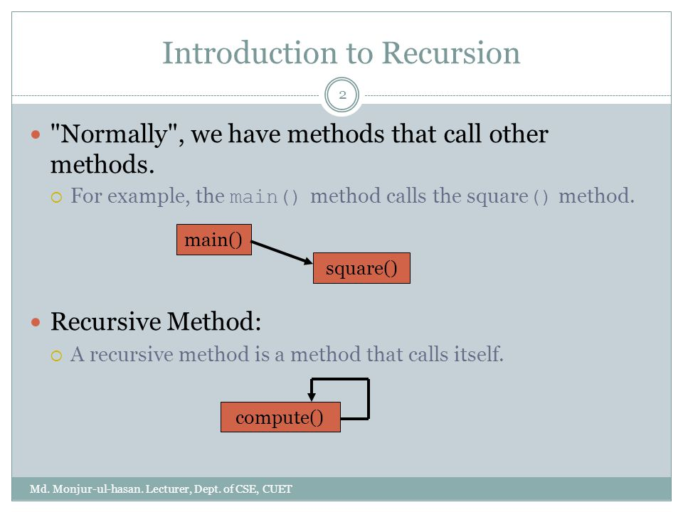 Introduction to Recursion Md. Monjur-ul-hasan. Lecturer, Dept.