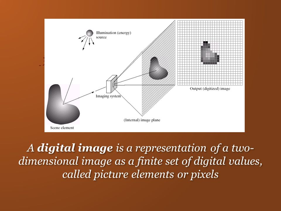 A digital image is a representation of a two- dimensional image as a finite set of digital values, called picture elements or pixels