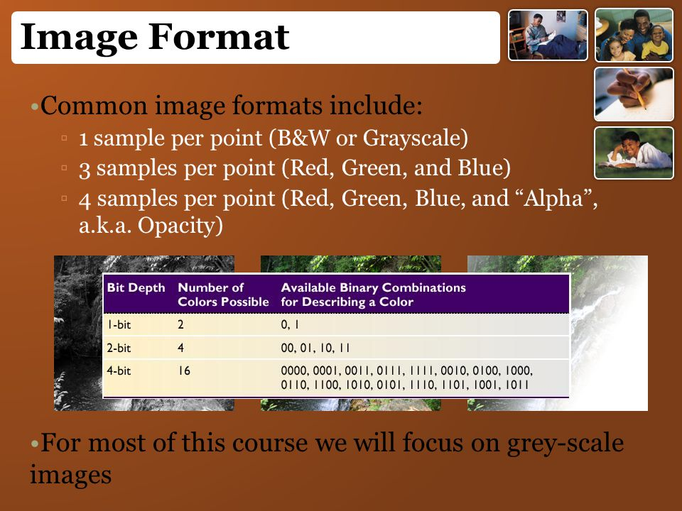 Image Format Common image formats include: ▫1▫1 sample per point (B&W or Grayscale) ▫3▫3 samples per point (Red, Green, and Blue) ▫4▫4 samples per poi