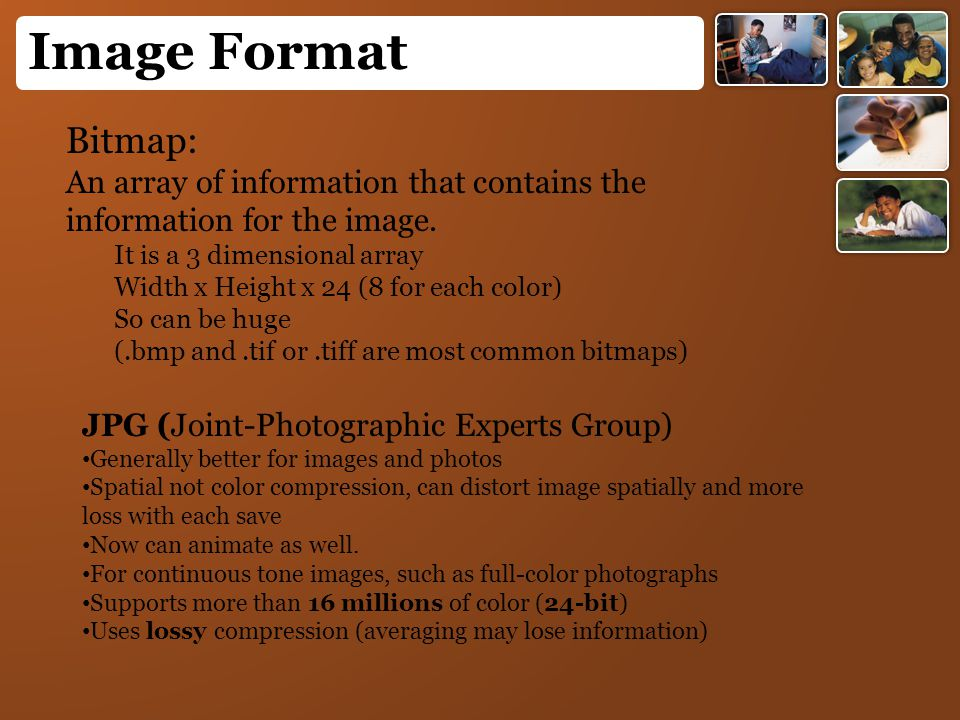 Bitmap: An array of information that contains the information for the image. It is a 3 dimensional array Width x Height x 24 (8 for each color) So can