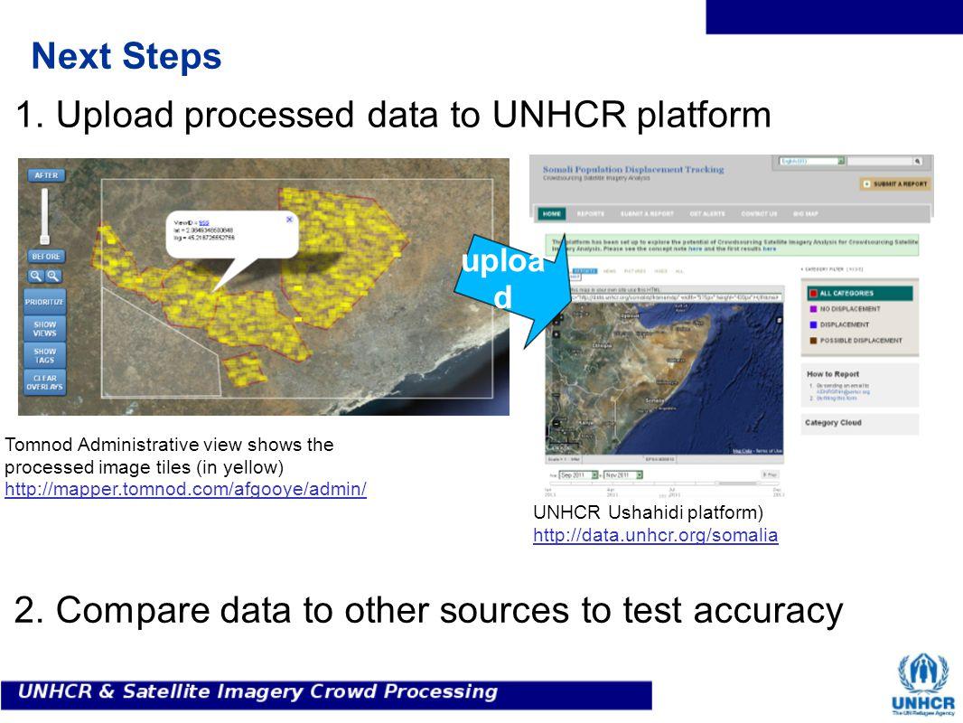 Next Steps Tomnod Administrative view shows the processed image tiles (in yellow) http://mapper.tomnod.com/afgooye/admin/ UNHCR Ushahidi platform) http://data.unhcr.org/somalia uploa d 1.