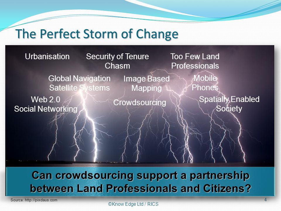 The Perfect Storm of Change 4 Source: http://pixdaus.com ©Know Edge Ltd / RICS UrbanisationSecurity of Tenure Chasm Too Few Land Professionals Global Navigation Satellite Systems Image Based Mapping Mobile Phones Web 2.0 Social Networking Spatially Enabled Society Crowdsourcing Can crowdsourcing support a partnership between Land Professionals and Citizens?