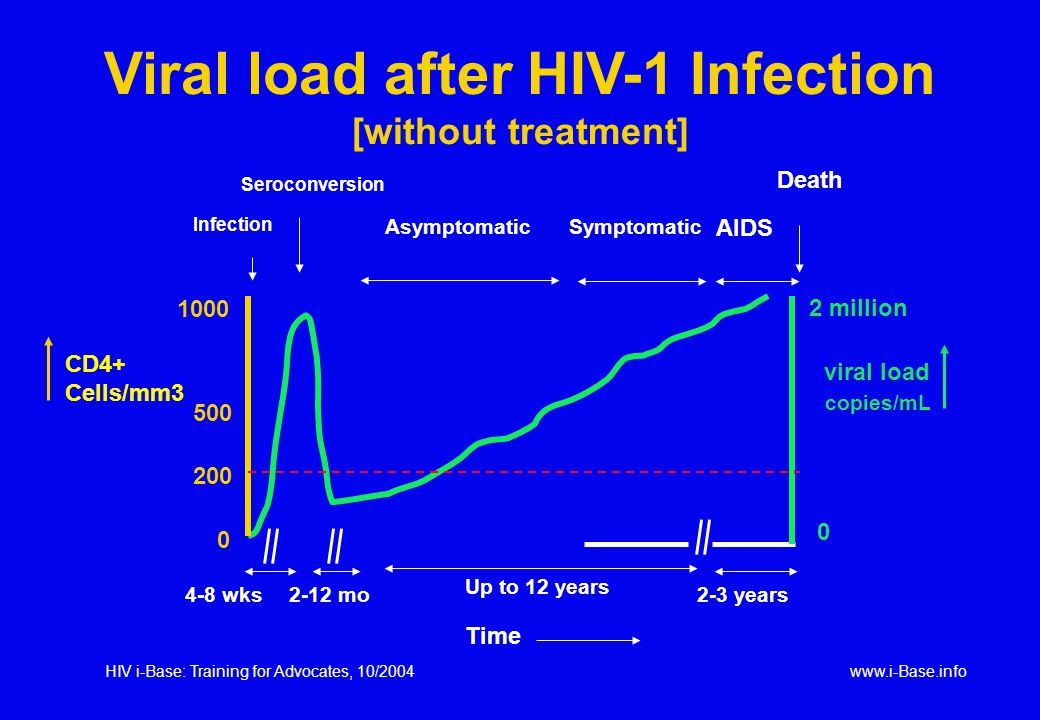 HIV i-Base: Training for Advocates, 10/2004www.i-Base.info 4-8 wks Up to 12 years 2-3 years Infection Seroconversion AsymptomaticSymptomatic AIDS Death 1000 500 0 CD4+ Cells/mm3 viral load 200 2-12 mo 2 million 0 copies/mL Viral load after HIV-1 Infection [without treatment] Time
