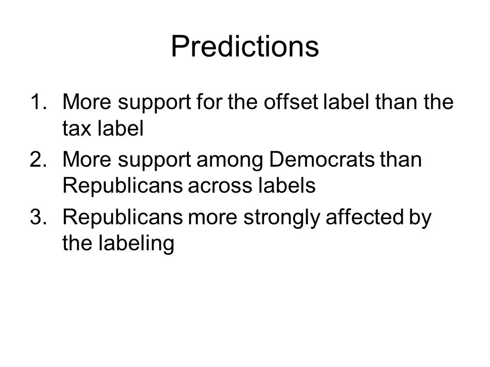 Query Theory: Hypotheses Label will affect ordering of thoughts supporting or opposed to carbon fee Republicans will have immediate, negative thoughts in response to the tax label The ordering will affect the balance of support, in turn predicting choices