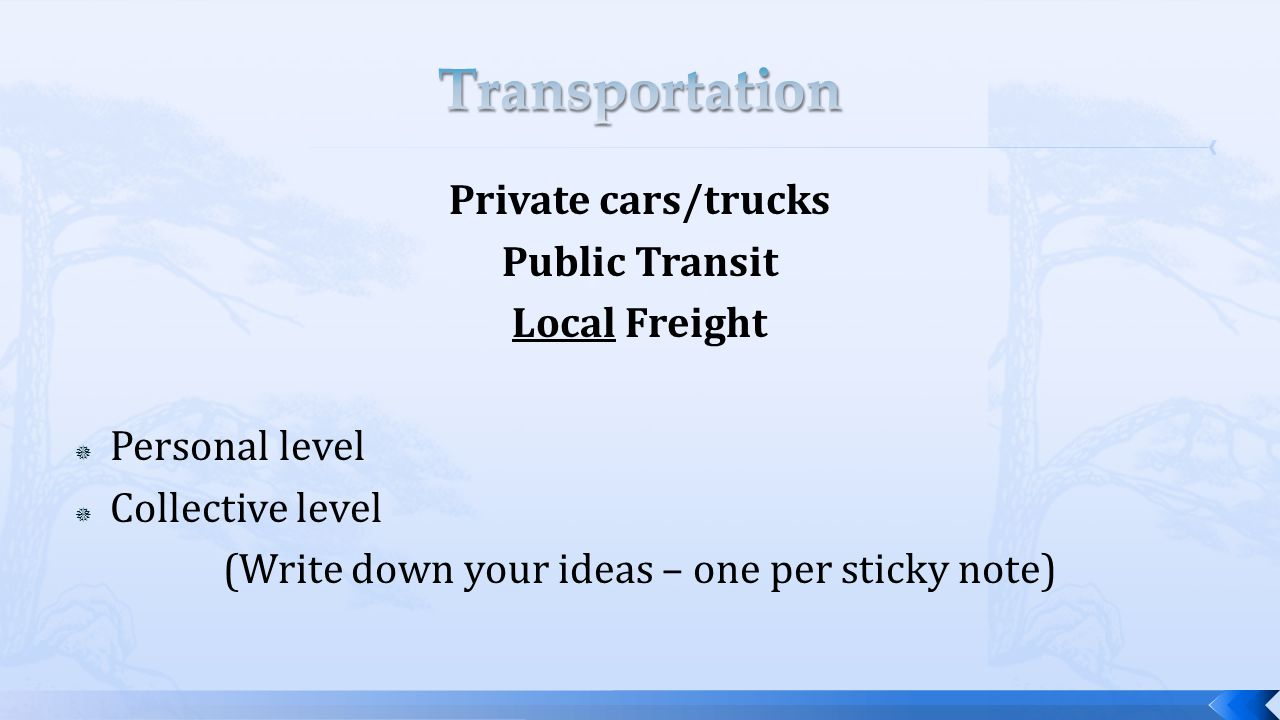 Private cars/trucks Public Transit Local Freight  Personal level  Collective level (Write down your ideas – one per sticky note)
