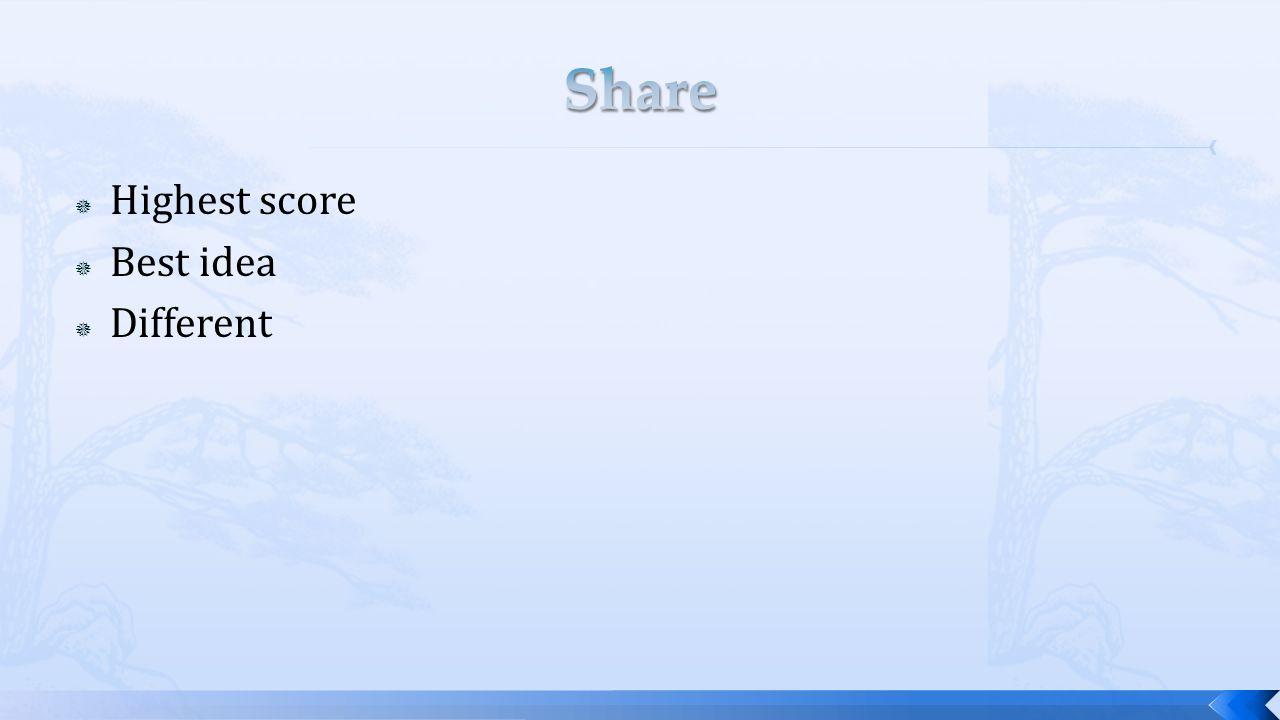  Highest score  Best idea  Different