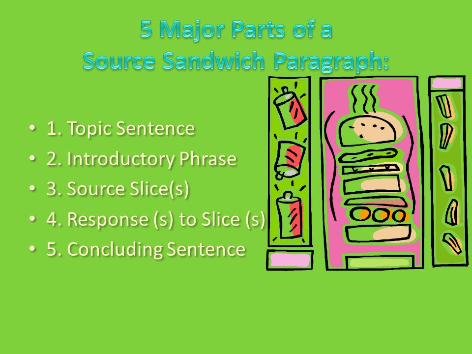 1.Topic Sentence 2. Introductory Phrase 3. Source Slice(s) 4.
