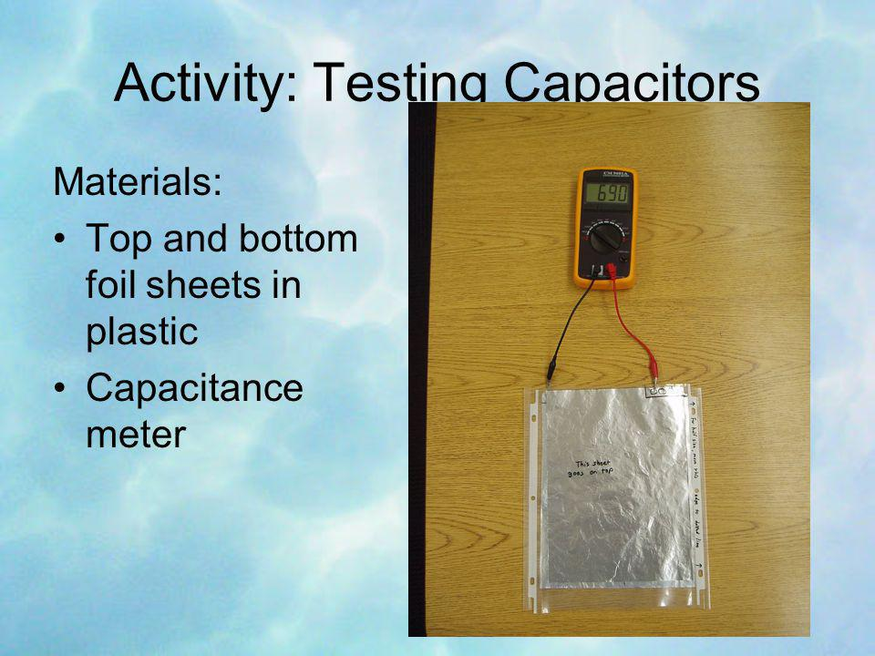 Activity: Testing Capacitors Materials: Top and bottom foil sheets in plastic Capacitance meter