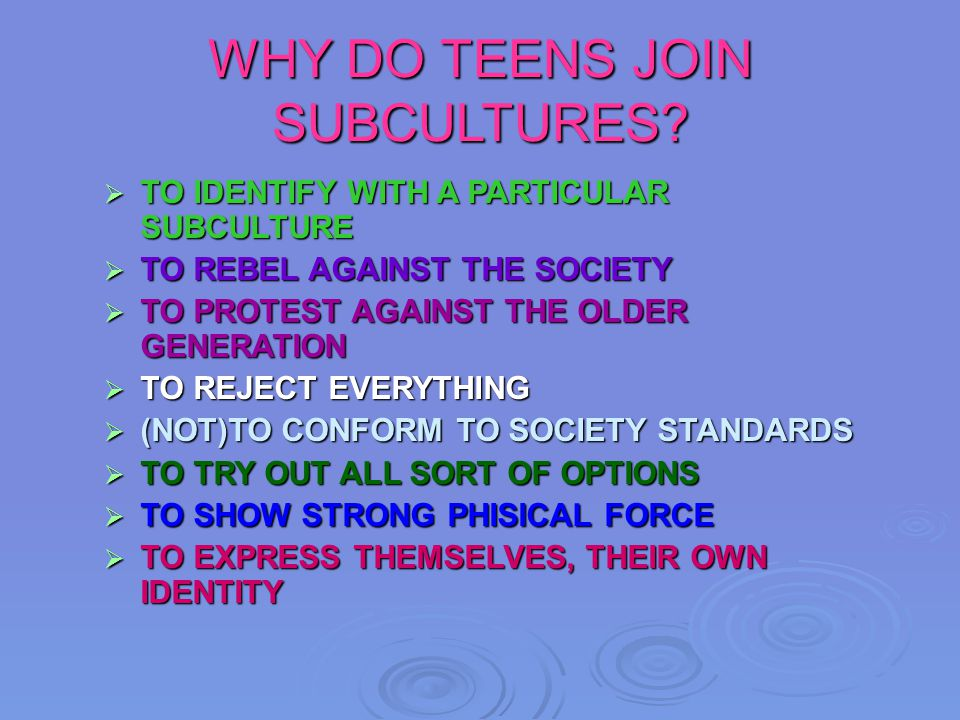 SUBCULTURE A subculture A subculture is a group of people with the same interests, the same is a group of people with the same interests, the same style and they like the same music.