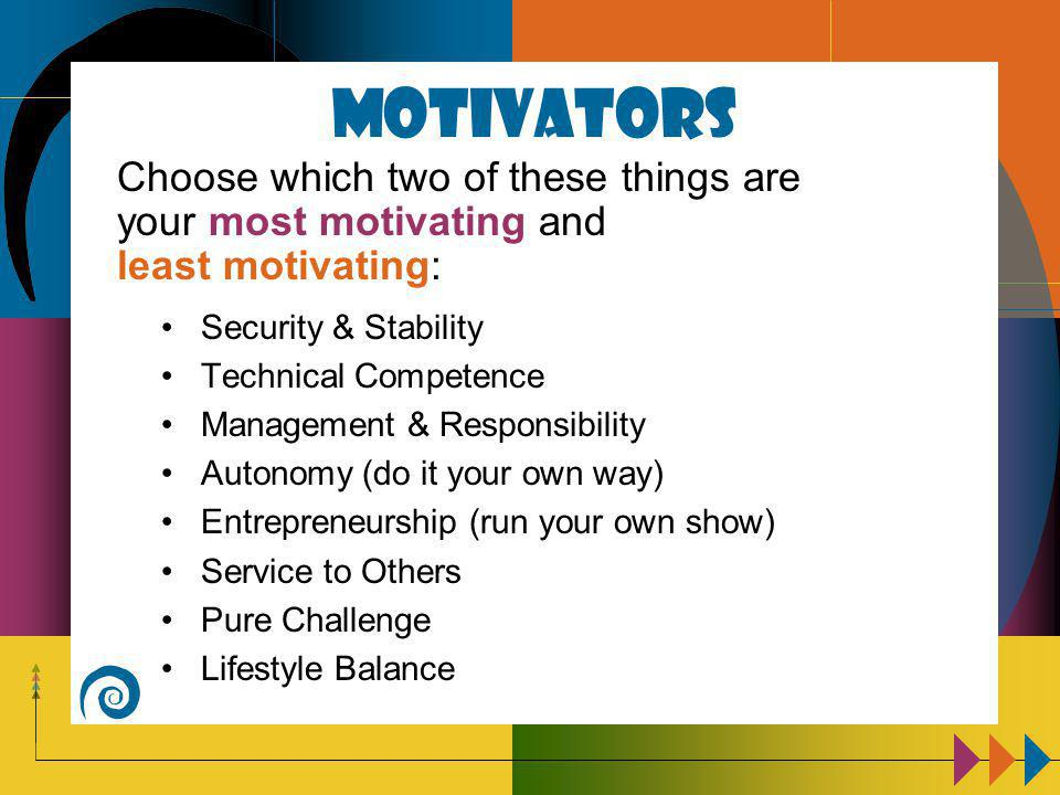 Motivators Security & Stability Technical Competence Management & Responsibility Autonomy (do it your own way) Entrepreneurship (run your own show) Service to Others Pure Challenge Lifestyle Balance Choose which two of these things are your most motivating and least motivating: