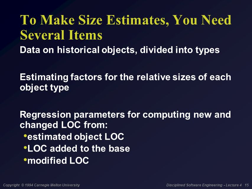 Copyright © 1994 Carnegie Mellon University Disciplined Software Engineering - Lecture 4 15 To Make Size Estimates, You Need Several Items Data on his