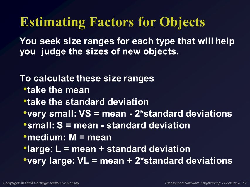 Copyright © 1994 Carnegie Mellon University Disciplined Software Engineering - Lecture 4 17 Estimating Factors for Objects You seek size ranges for each type that will help you judge the sizes of new objects.
